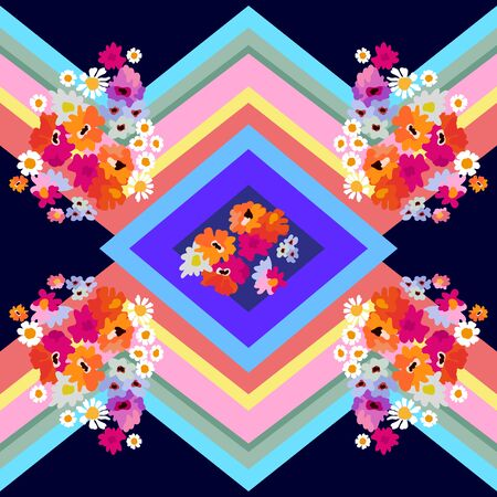 Colorful wildflowers and stripes on dark background. Summer textile collection. Иллюстрация