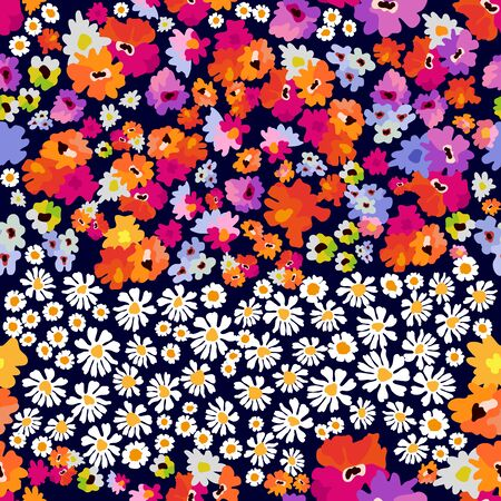 Colorful wildflowers on dark background.  Summer textile collection.  イラスト・ベクター素材