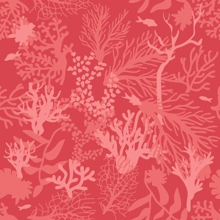 Seamless vector print with undersea landscape. Marine textile collection.