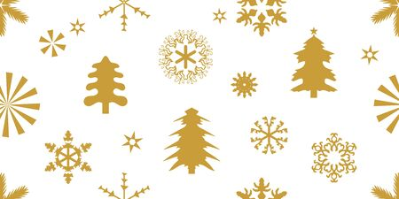 Golden Xmas trees, snowflakes and other decorations on white background. Template for cards and gift wrappings.