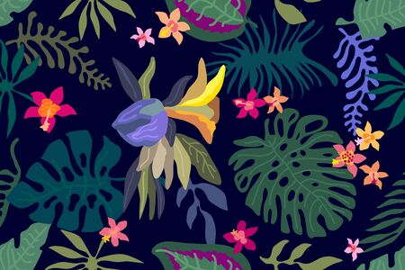 Seamless vector pattern with exotic flowers and palm leaves on black background.  イラスト・ベクター素材