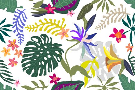 Seamless vector pattern with exotic flowers and palm leaves on white background. Illustration