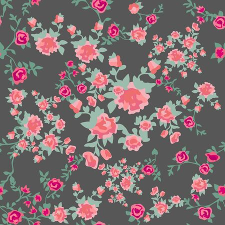 Botanical seamless print with different floral elements. Summer textile collection. Ilustración de vector