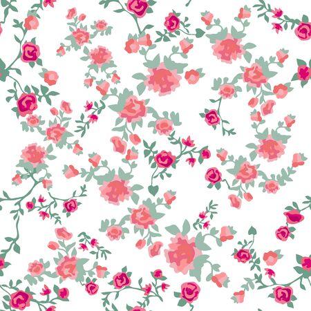 Impresión botánica sin costuras con diferentes elementos florales. Colección textil de verano.