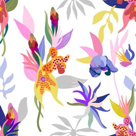 floral textile collection. On white background.