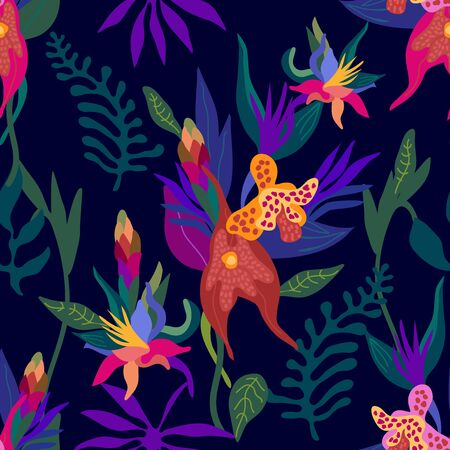floral textile collection. On dark blue background.