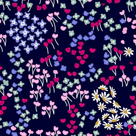 Seamless botanical pattern with small flowers on dark background. Summer textile collection. Иллюстрация