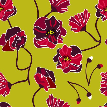 Retro blossom textile design collection. On yellow background.