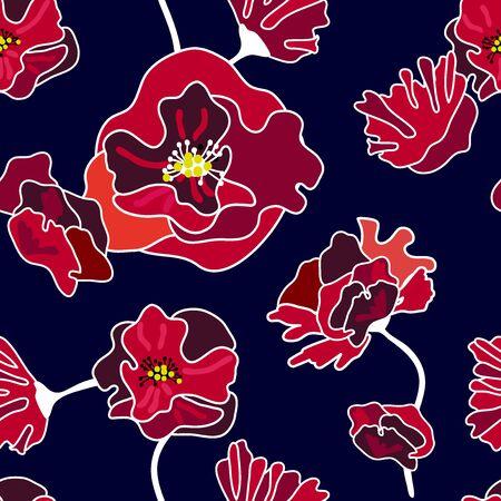 Retro  blossom textile design collection. On black background.
