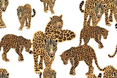 Seamless vector pattern with tigers and leopards on white background.