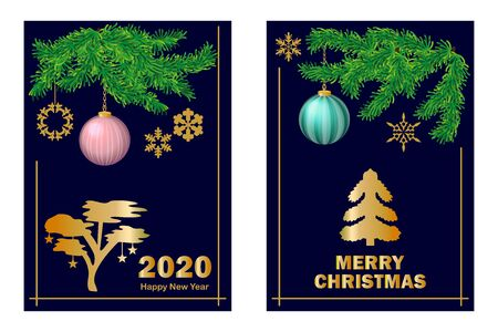 Template with fir and golden festive decorations.