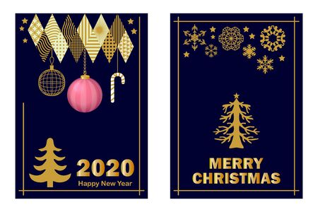 Template with fir and festive decorations.