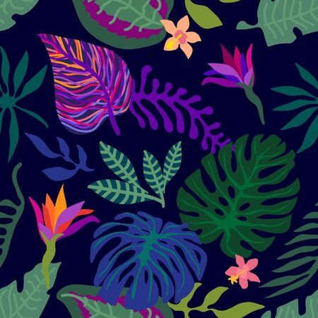 Seamless vector pattern with monstera leaves and colorful flowers. Swimwear textile collection.