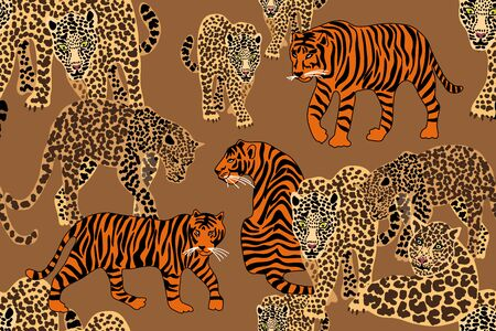 Seamless vector pattern with tigers and leopards on brown background.