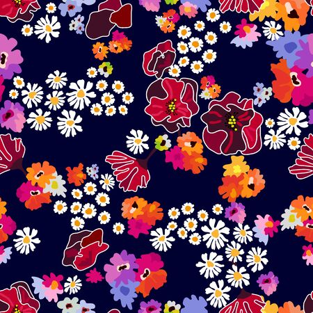 Seamless floral pattern with poppies, daisies and other flowers on dark background. Иллюстрация