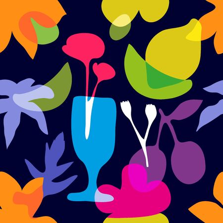 Summer blossom textile collection. Colorful on dark. Иллюстрация