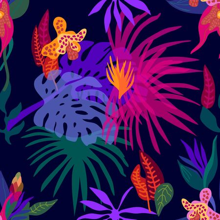 Colorful palm leaves and blooming orchids on dark background.