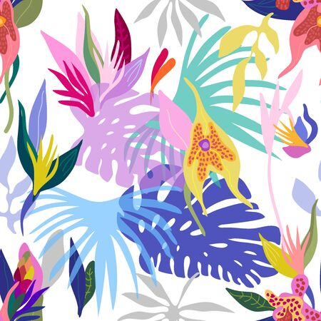Colorful palm leaves and blooming orchids on white  background. Illustration