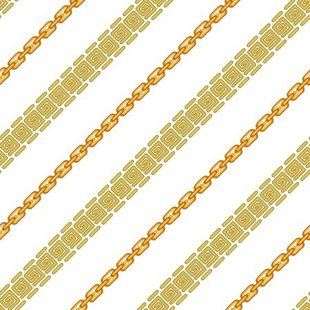 Seamless vector pattern with golden chains and geometric elements.