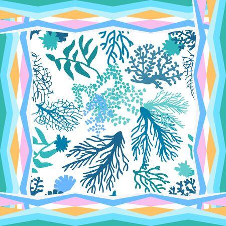 Summer textile design collection. Blue color palette.