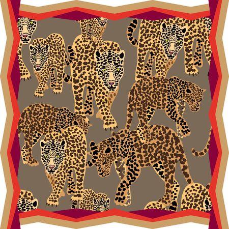 Trendy framed animal print with golden colors palette.