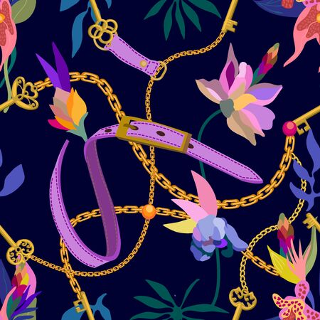 Leather belts, golden chains and blooming orchids on black background. Template for scarfs, dresses, cards and covers. 向量圖像