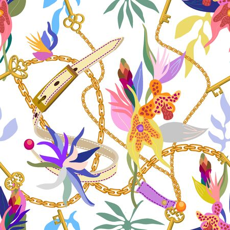 Leather belts, golden chains and blooming orchids on white background. Template for scarfs, dresses, cards and covers.