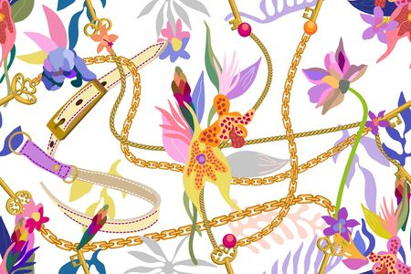 Leather straps, golden chains and blooming flowers on light background. Template for scarfs, dresses, cards and covers.