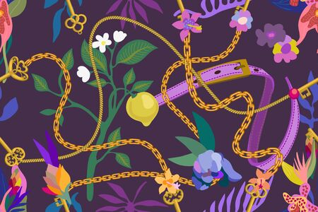 Leather straps, golden chains and blooming flowers on violet background. Template for scarfs, dresses, cards and covers. 向量圖像