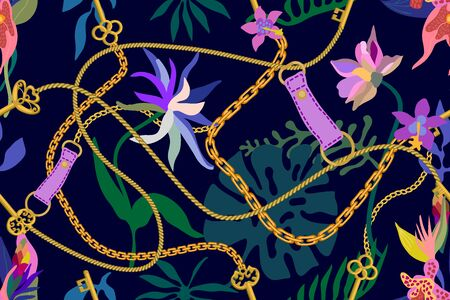 Leather straps, golden chains and blooming flowers on dark background. Template for scarfs, dresses, cards and covers.