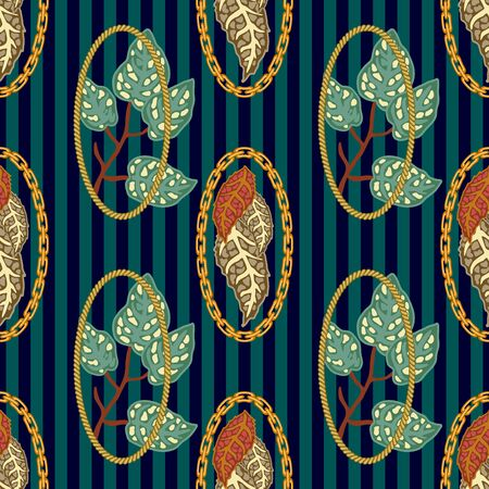 Template for textile design, cards, gift wrappings and wallpaper. On green background.