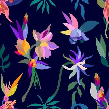 Swimwear textile design collection. On black background.