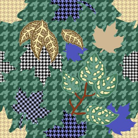 Seamless vector pattern with botanical motifs, checkered background and hounds tooth elements.