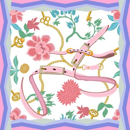 Summer textile design collection. On white background.