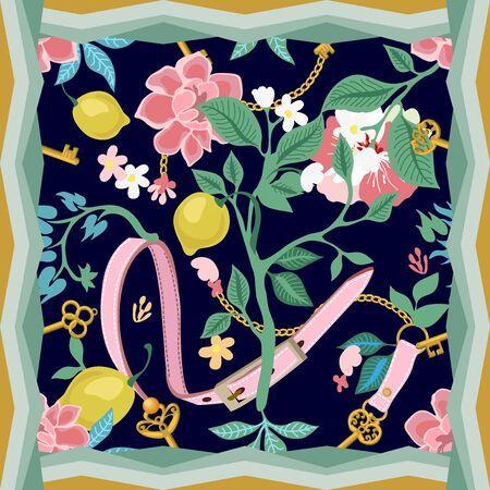 Summer textile design collection. On dark background. Çizim