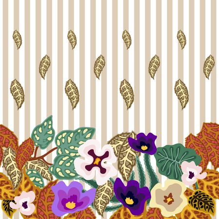 Vintage textile design collection. On light striped background.