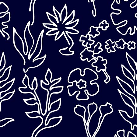 Outline palm leaves and flowers on black background. Aloha textile collection. 일러스트