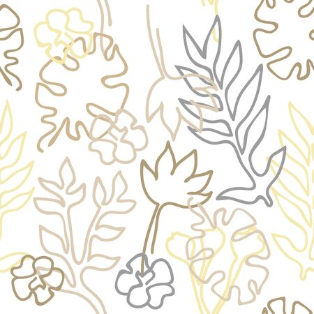 Outline palm leaves and flowers on white background. Aloha textile collection.