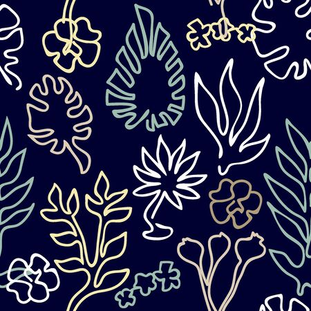 Outline palm leaves and flowers on dark background. Aloha textile collection.