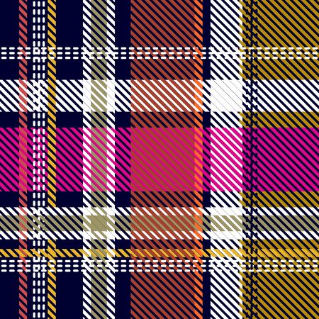 Template for plaids, shirts, napkins, dresses. Black, yellow, pink. 向量圖像