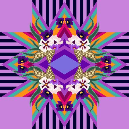 Colorful botanical pattern with small purple flowers and leaves.
