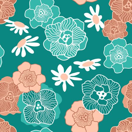 Design with Japanese motifs. Template for wallpapers, scarves, dresses.