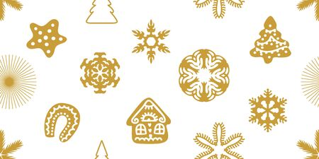 Template for cards and gift wrappings. Golden icons on white background.