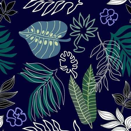Textile design for swimwear, shirts and dresses. Aloha summer collection. Blue, green, black.