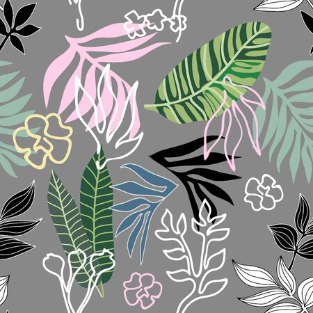 Textile design for swimwear, shirts and dresses. Aloha summer collection. Grey, green, pink.
