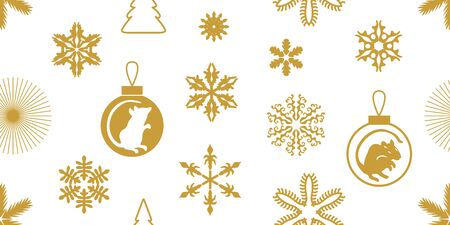 Seamless vector pattern with rat symbol, firs and snowflakes.