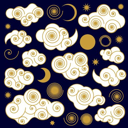 Stylized decorative objects for cards, posters. Variety of different shapes with golden outlines.
