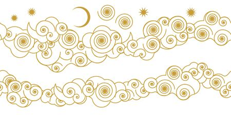 Golden and white template for gift wrappings, cards, banners, posters. Ilustração