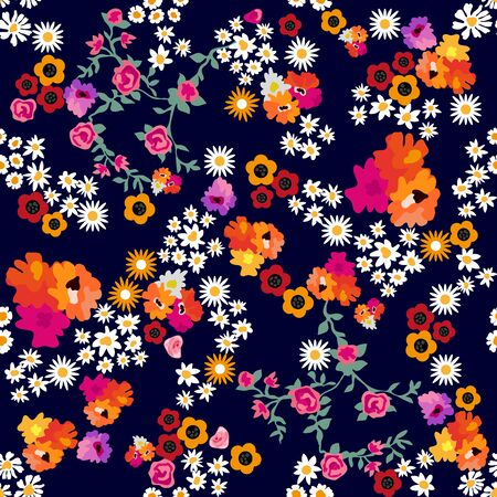Small chamomiles, daisies, poppies and roses on dark background. Template for textile and scrapbooking paper. Ilustração