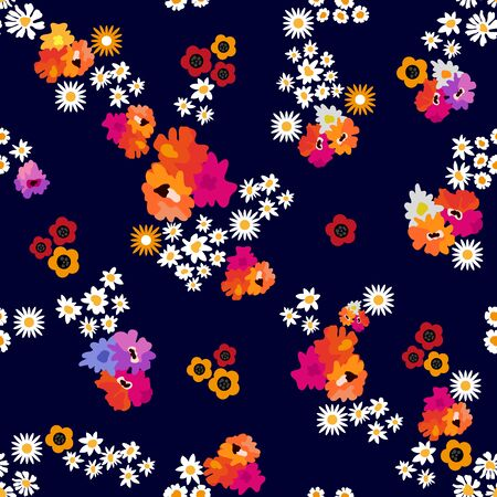 Small chamomiles, daisies, poppies on dark background. Template for textile and scrapbooking paper. Ilustração